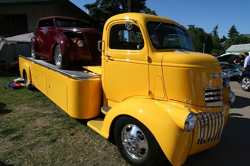 1937 Ford on a 1942 Chevrolet C.O.E. flatbed | Coe cab ...
