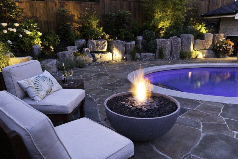 Solus Firebowl Hemi 36 by pool setting by Houston Landscaping.   Outdoor fire pit designs ...
