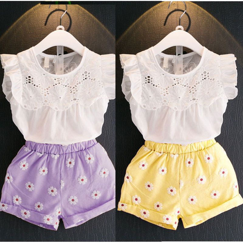Infantil Infantil niñas trajes Ropa Camiseta camisetas + shorts 2 ... 3feb348f914