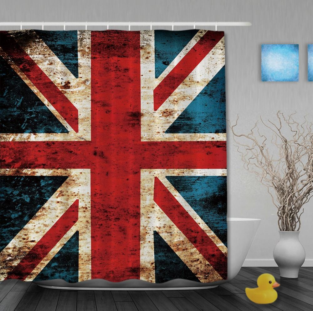 Unicon Jack Flag On Old Wooden Classic Shower Curtains Waterproof ...