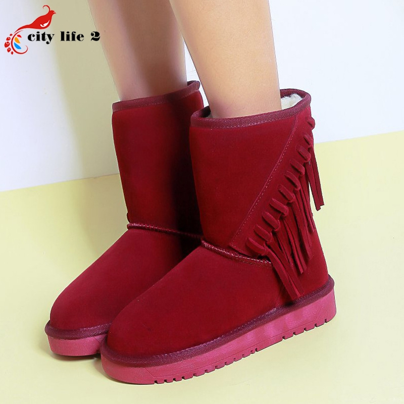 47.22$  Watch here - http://ali112.worldwells.pw/go.php?t=32754700230 - 2016 Winter Warm Matte Texture Leather Flat Sloles Women's Snow Boots Tassel Plush Lining Thicken Round Toe Cozy Cotton Shoes 47.22$