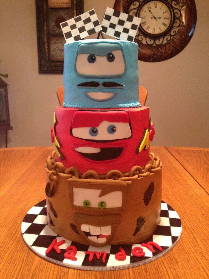 Disney Cars 2 Mater Lightning Mcqueen Finn Cake Kid Birthday