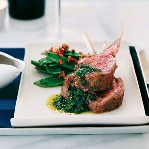 For this playful twist on British roast lamb with mint jelly, Luke Mangan serves lamb chops with a piquant condiment of fresh mint and jalapeno.