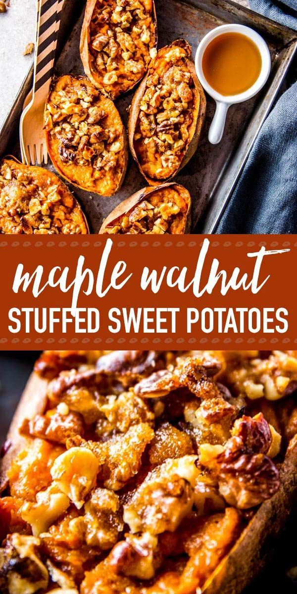 These twice baked brown sugar maple walnut sweet potatoes are the perfect spin on sweet potato skins! They're made healthy with maple syrup and Greek yogurt and are so easy to put together. They a great gluten free and vegetarian idea for fall party appetizers, football snacks or even as a new Thanksgiving side dish. | #recipe #easyrecipes #appetizer #partyfood #gameday #footballfood #tailgate #fall #fallrecipes #maple #sweetpotato #thanksgivingrecipes