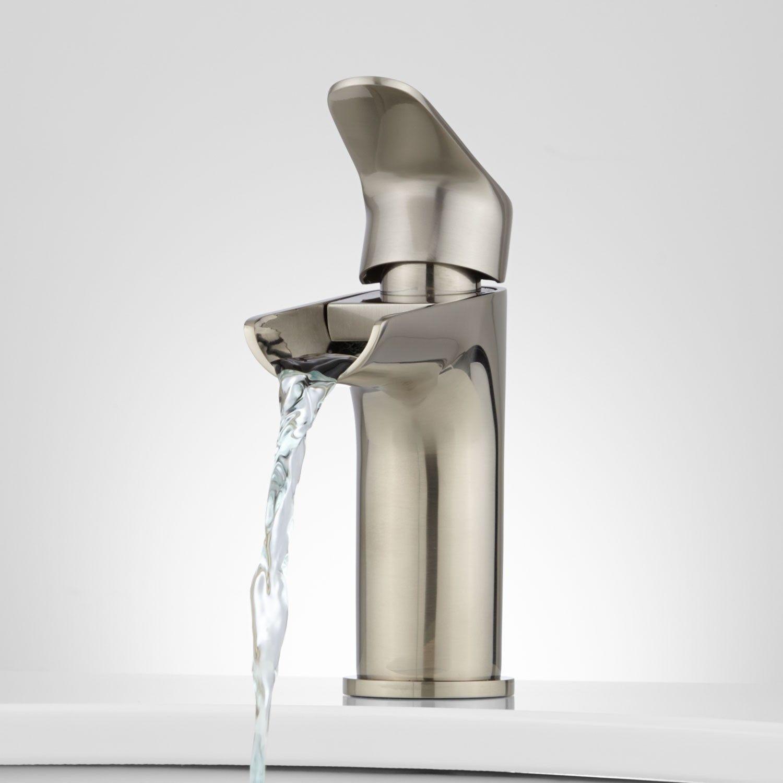 Pagosa Waterfall Single-Hole Bathroom Faucet   Brushed nickel ...