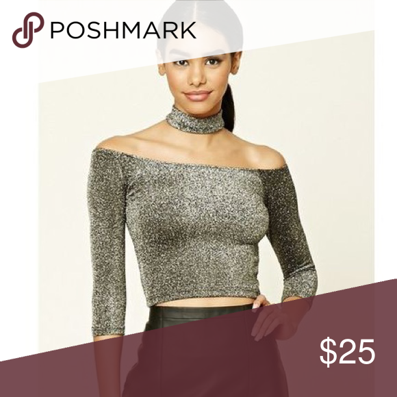 4012f1e5581 Glitter Choker Top Gorgeous glitter crop top with an attached choker. Super  stretchy and comfy! New with tags! Brand is forever21 Brandy Melville Tops  Crop ...