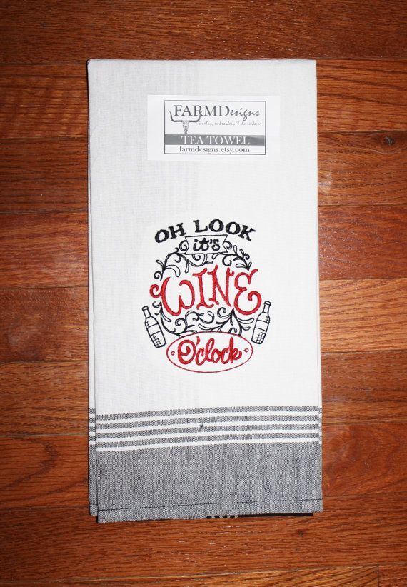 Cute Wine Kitchen Towel Embroidered Wine Towel By
