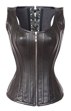 bslingerie womens faux leather zipper front bustier corset