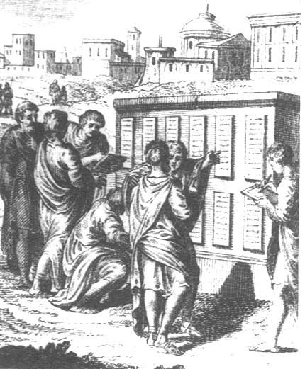 The earliest laws that Romans abided by were the Twelve Tables. Since there was no written code yet, ten patricians developed these laws. These helped establish order in the new state of Rome.