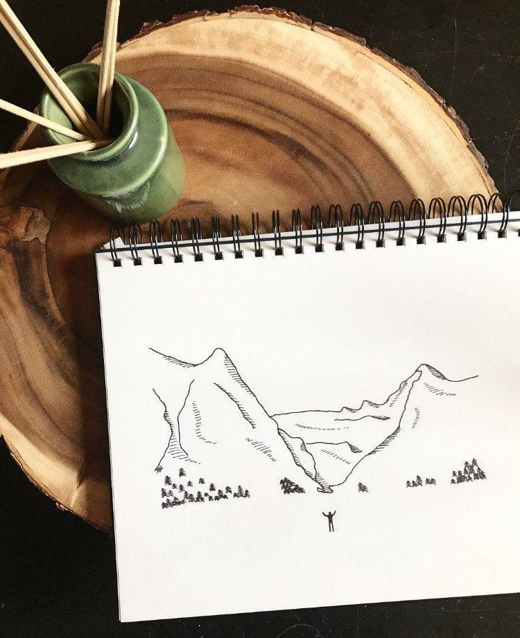 Mountain Range Line Art Print    Black and White Art    Pacific ...
