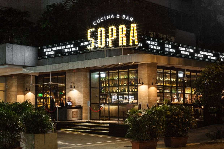 sopra restaurant exterior signage designed by bravo company