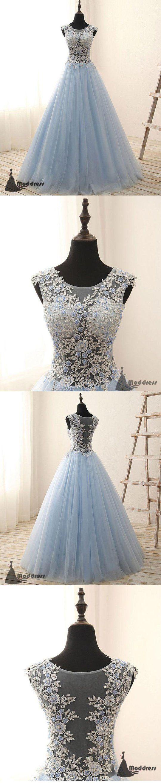 Blue applique long prom dress tulle aline evening dress formal