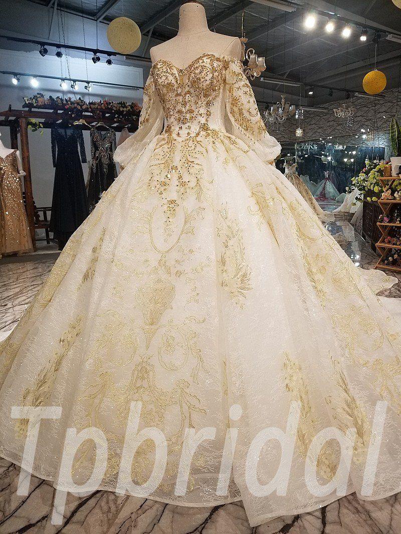 Gold And White Wedding Dress Long Train Hand Made Gold Wedding Gowns Long Train Wedding Dress White Gold Dress