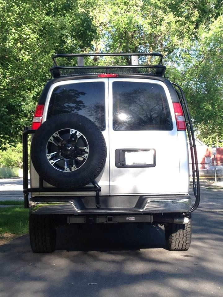 Chevy Gmc Van With Aluminess Tire Rack Roof Rack And Ladder