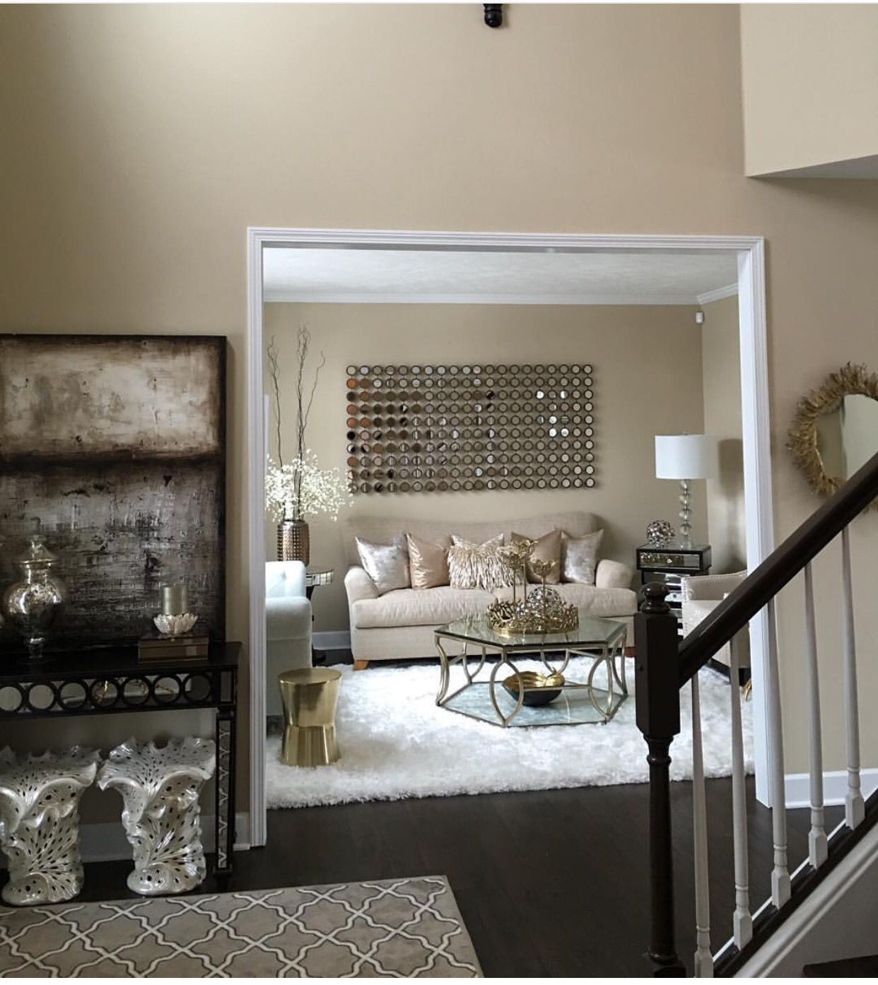 Beige Rooms With Hints Of Gold Charcoal And Black Home
