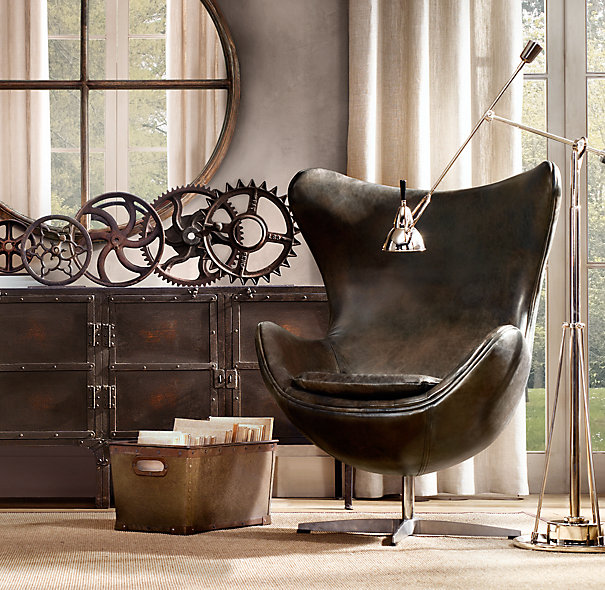 Leather egg arne jacobsen retro loved by denmark for Objetos decoracion industrial