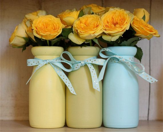 Yellow Green Blue Decorations Painted Jars Milk Bottles Vases