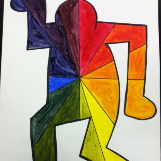 Keith Haring Color Wheel Using Tempera Paint And Figure