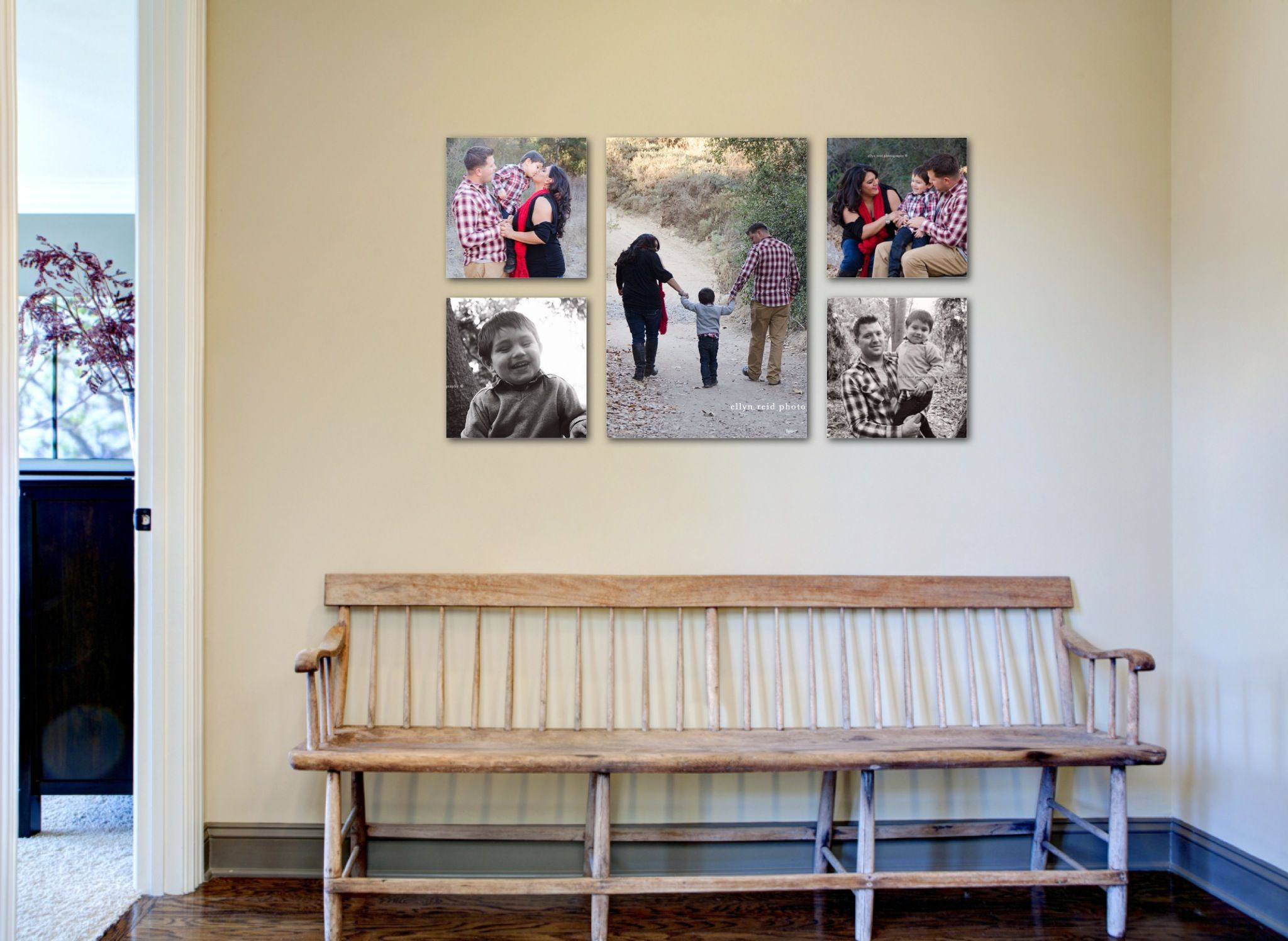 Decoration, Canvas Family Photo Wall Display Ideas In The Corridor House  With White Wall Interior