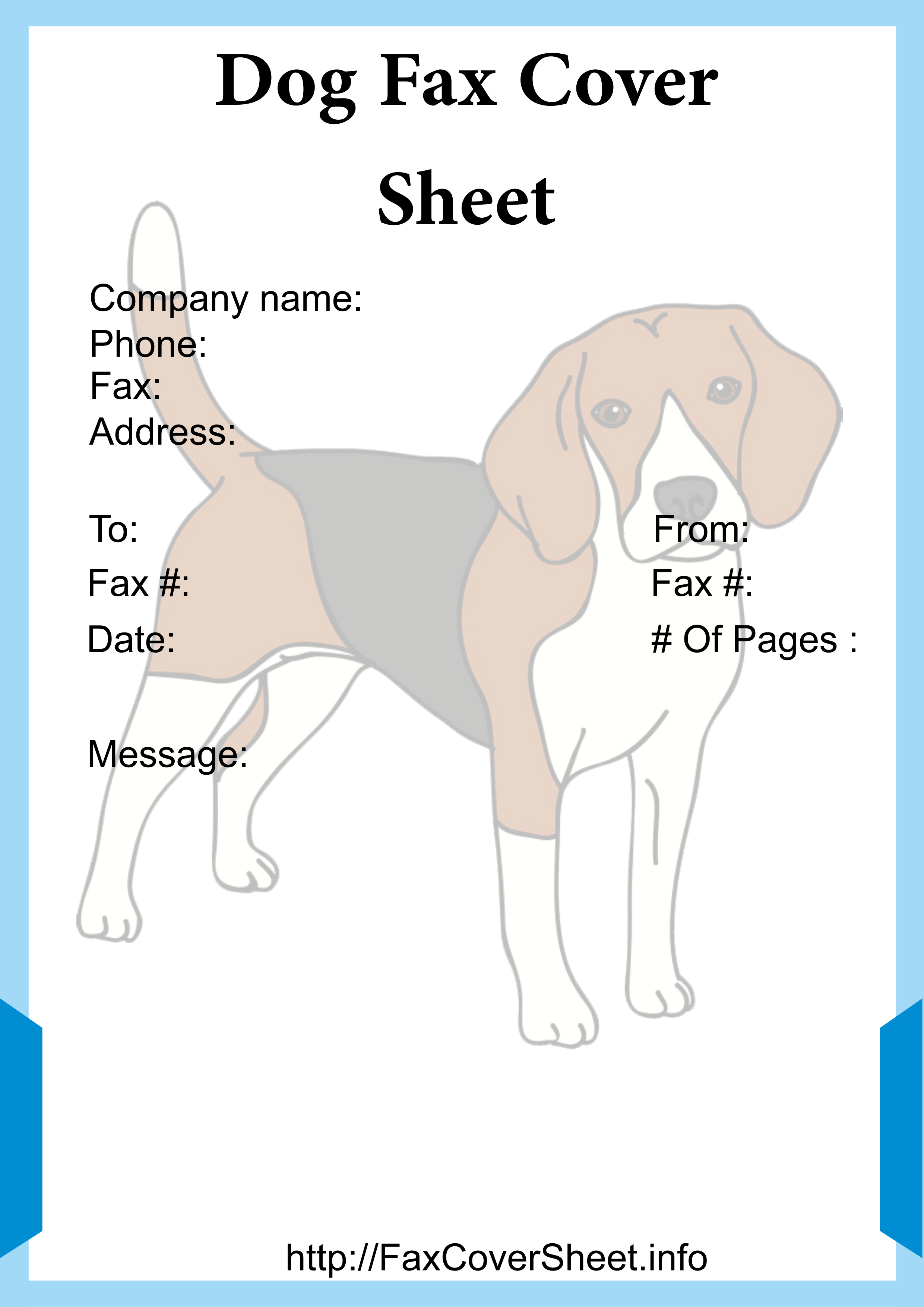 Printable Dogs Fax Cover Sheet Template Fax cover sheet