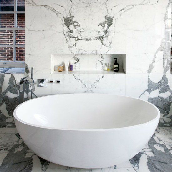 groß badewanne weiß marmor modernes bad Badezimmer Pinterest