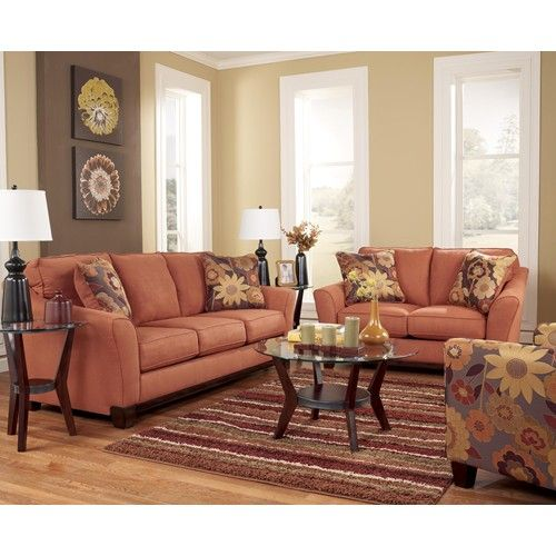 Signature Design by Ashley Furniture Gale - Russet Stationary Sofa w/ Loose seat Cushions - Sam's Furniture & Appliance - Sofa Fort Worth, Arlington, Dallas, Irving, Texas
