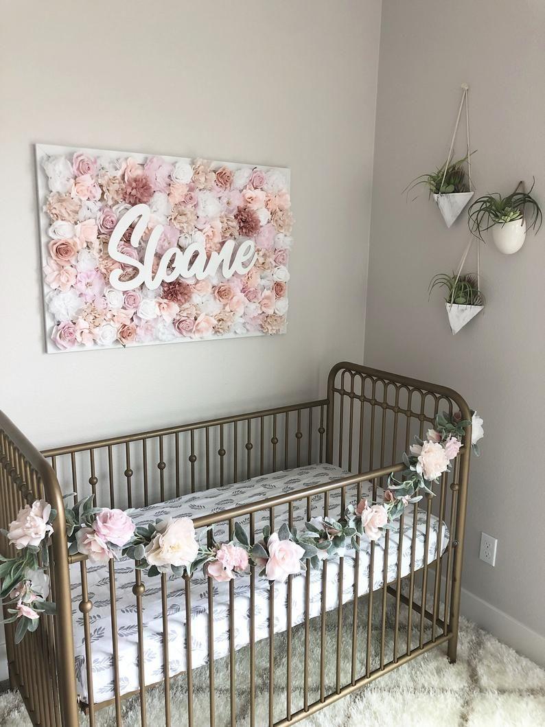 Baby Girl Nursery Wall Decor Blush Blush and Mauve Nursery  Etsy