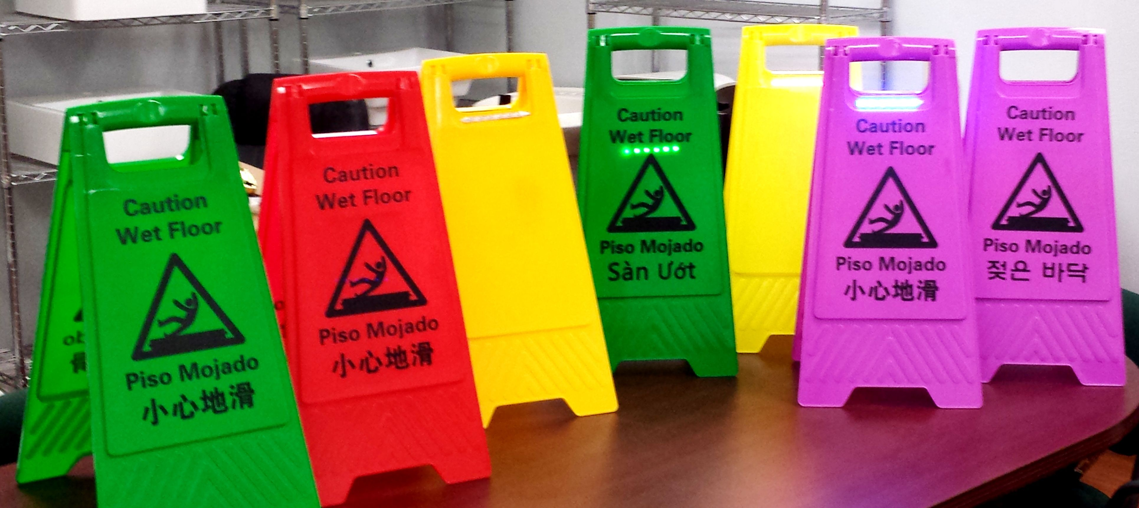 Multiple Colored Wet Floor Signs Come In Different Languages Wet Floor Signs Wet Floor Flooring