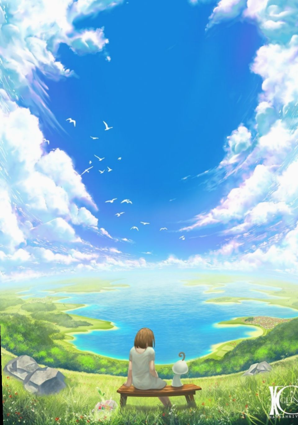 7 Wallpaper Blue Sky Beautiful In 2020 Sky Anime Anime Background Anime Scenery