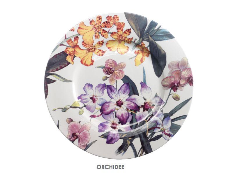 El bajoplato Orchidee tiene un bonito diseño de orquídeas de varios ...