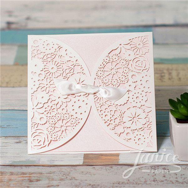 Romantic Blush Pink Lace Cut Wedding Invitation Card Wholesale