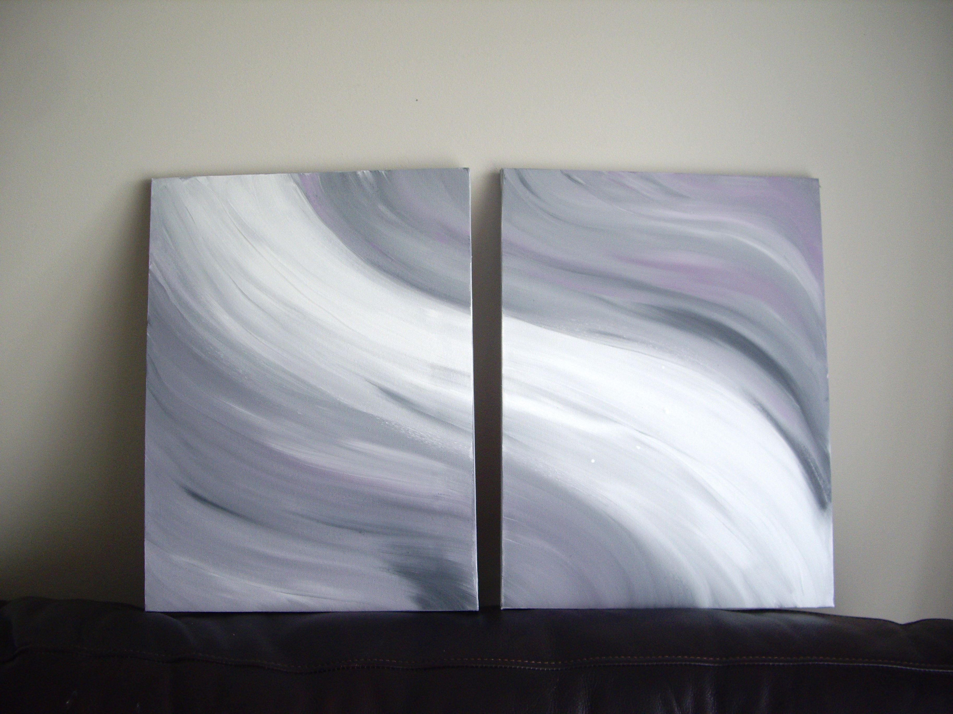 Black White And Gray Paintings Diptych Abstract Acrylic Painting On Canvas Grey Black