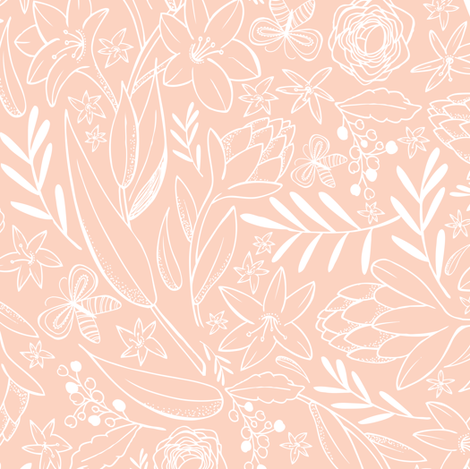 Botanical Sketchbook Floral Pink Blush fabric by heatherdutton on Spoonflower - custom fabric