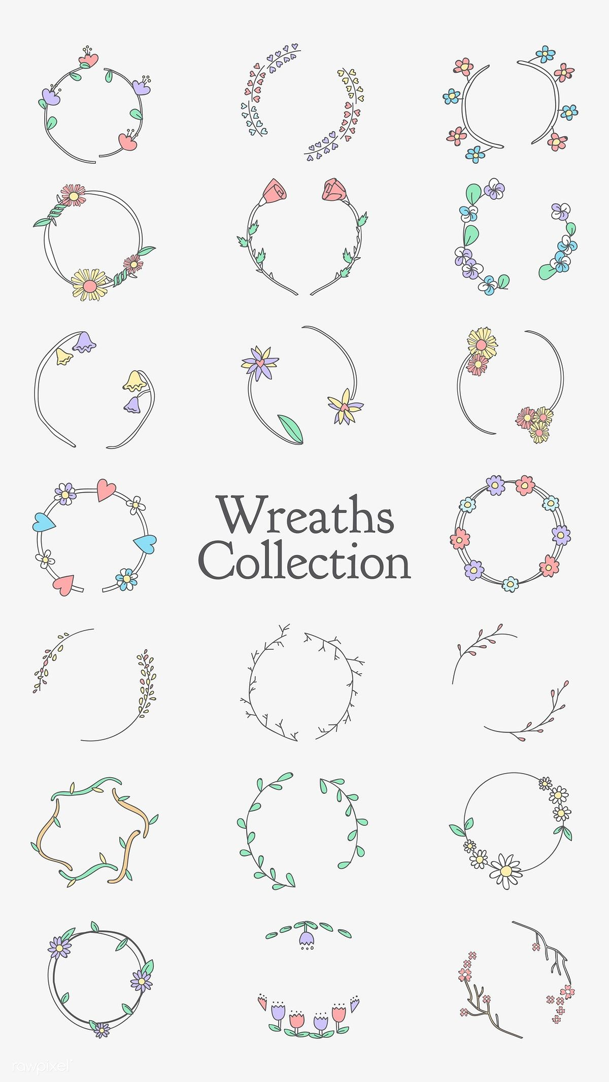 Photo of Download the premium illustration of the colorful botanical wreath vector
