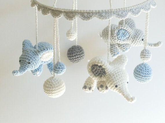 Amigurumi Sheep Baby Mobile : Elephant baby mobile crochet elephant crochet baby gift handmade