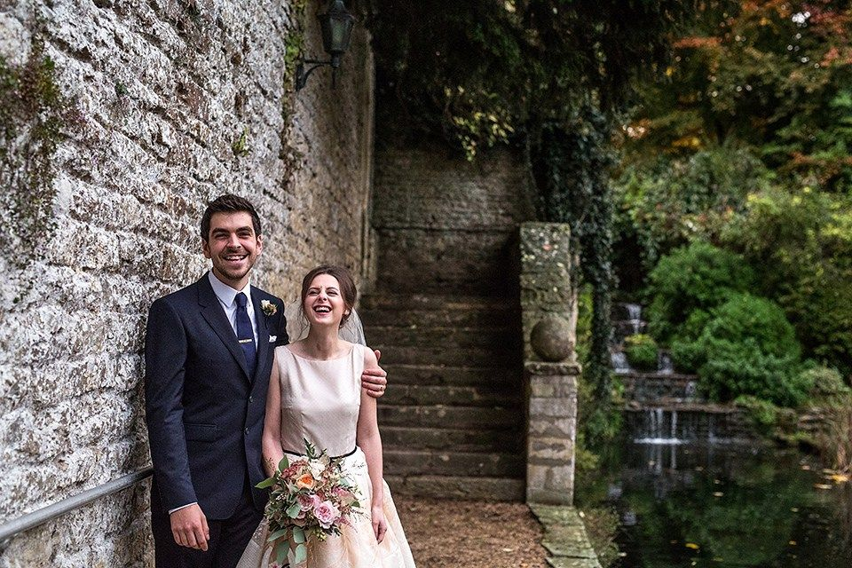 A short 60's inspired REDValentino dress for an Autumn wedding at Le Manoir Aux Quat'Saisons. Photography by Jordanna Marston.
