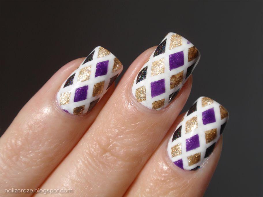 Striping tape mani - purple & gold nail design | Nails!! | Pinterest ...