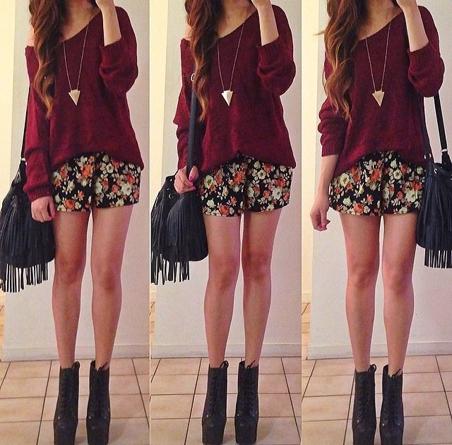 Off shoulder fashion outfit burgundy maroon