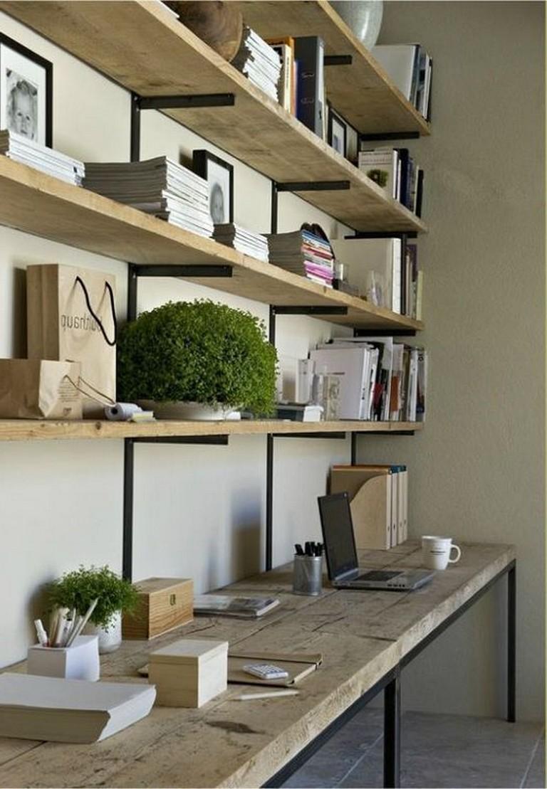 25 Admirable Diy Farmhouse Desk Design Ideas For Office Diyfarmhouse Deskdesign Officedesk Small Home Office Office Shelving Desk Design