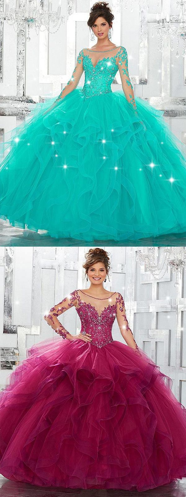 Glamorous tulle bateau neckline ball gown quinceanera dresses with