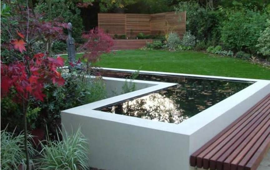 l-shaped koi pond - partially above