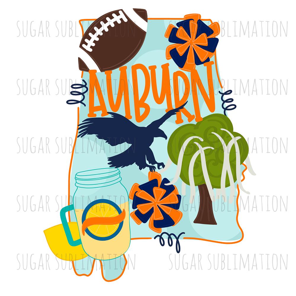 Auburn Football State Sublimation Transfer Masondixon479 Auburn Football Auburn Shirts Sublime