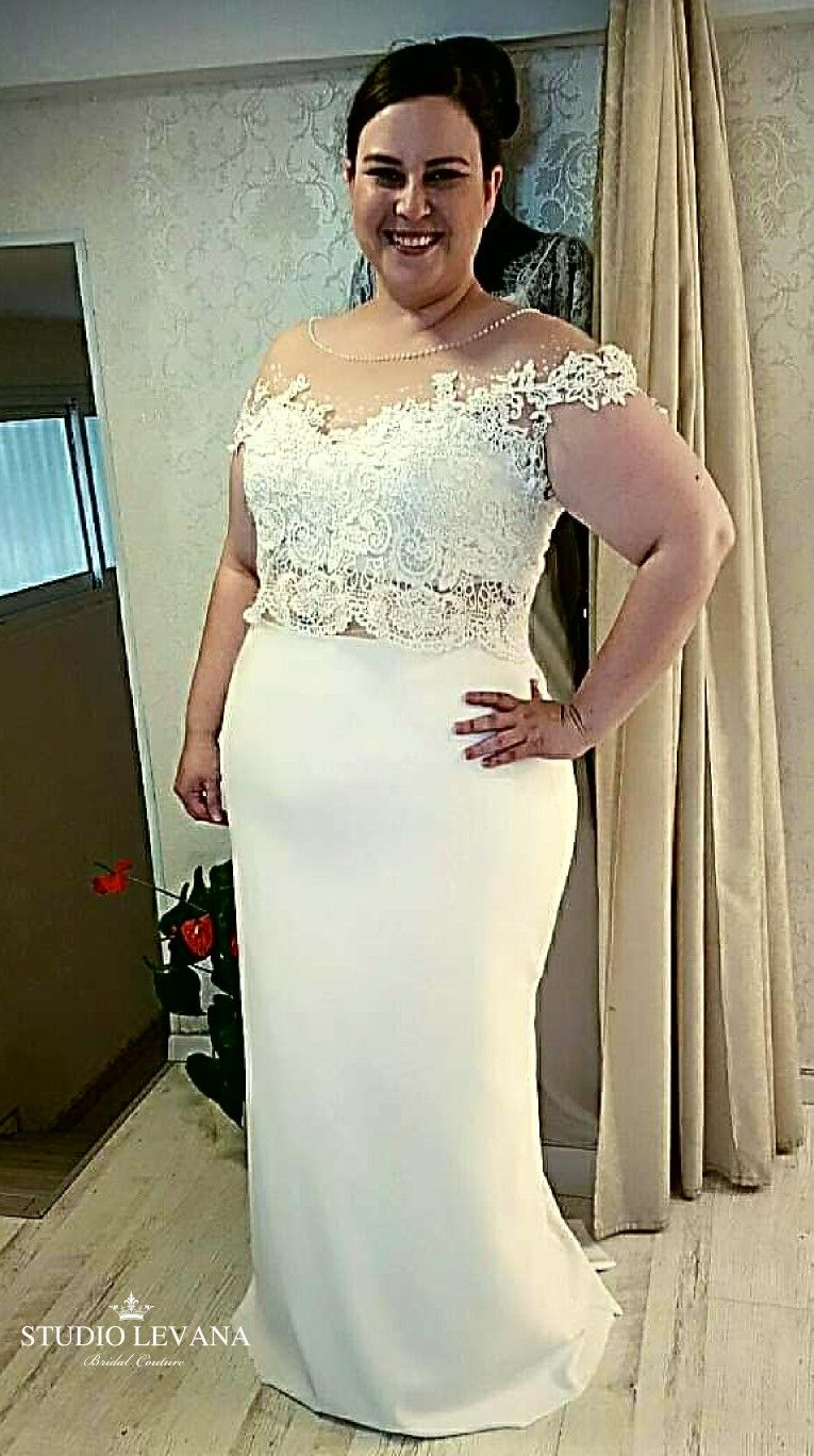 e50bbfebc5dc Sexy plus size wedding gown with crop top and fitted plain satin mermaid  skirt from Studio Levana