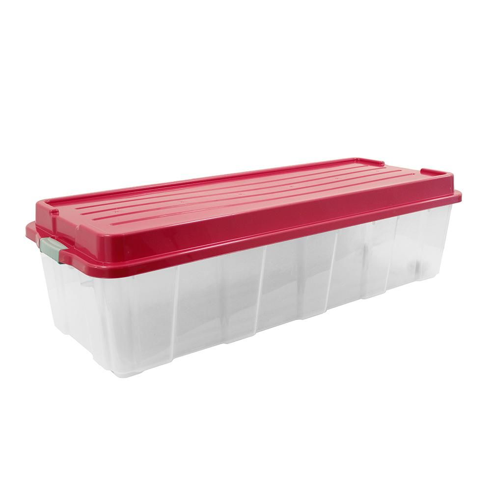 Christmas Tree Storage Box Rubbermaid Delectable Organizeit 65 Galholiday Tree Storage Tote In Clear Base And Red Decorating Inspiration
