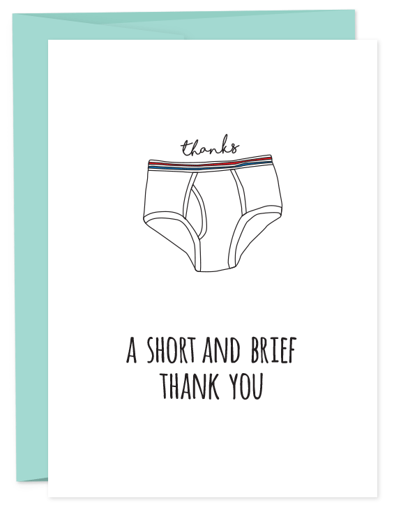 Funny Thank You Picture Quotes : funny, thank, picture, quotes, Thanks., Thank, Muchas, Gracias., Briefs, Always, Boxers., Folded, Blank, Inside, Matching, Funny, Cards,, Punny, Cards