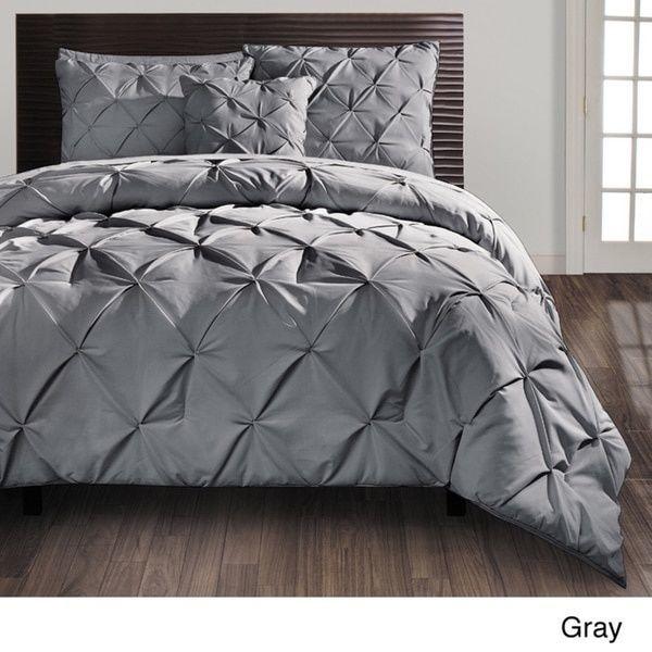 Gray King Size Vcny Carmen Pintuck 4 Pc Comforter Set Tufting