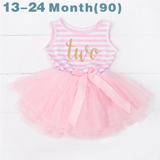 7d4f23e4 Ai Meng Baby Flower Girls Princess First Birthday Outfits One Two Three  Years Old Birthday Baby Toddler Dresses Clothes Striped