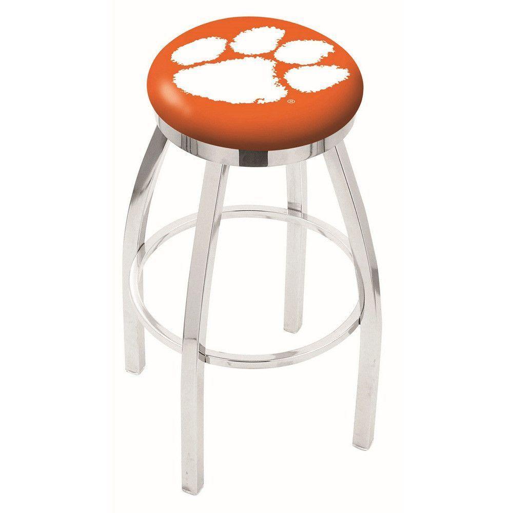 Clemson Tigers Chrome Single Rung Swivel Barstool