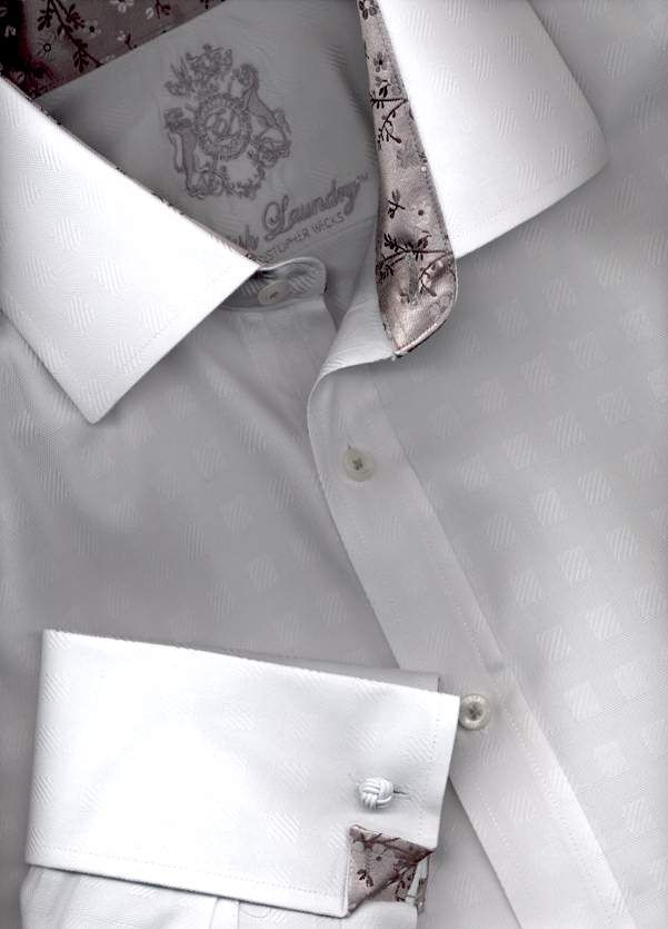 English Laundry White Tonal Pique Square Dress Shirt 125 Mens