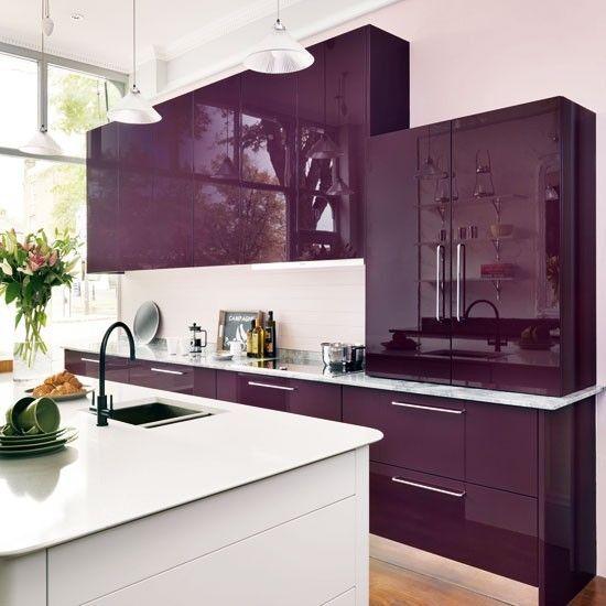 50 Inspiring Purple Theme Colour For Kitchen Purple Kitchen Cabinets Kitchen Cabinets Color Combination Kitchen Design Color